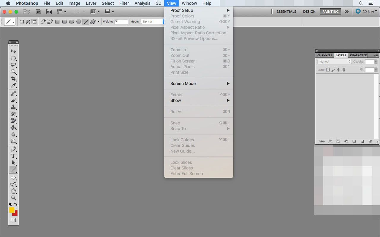 The View menu in Photoshop