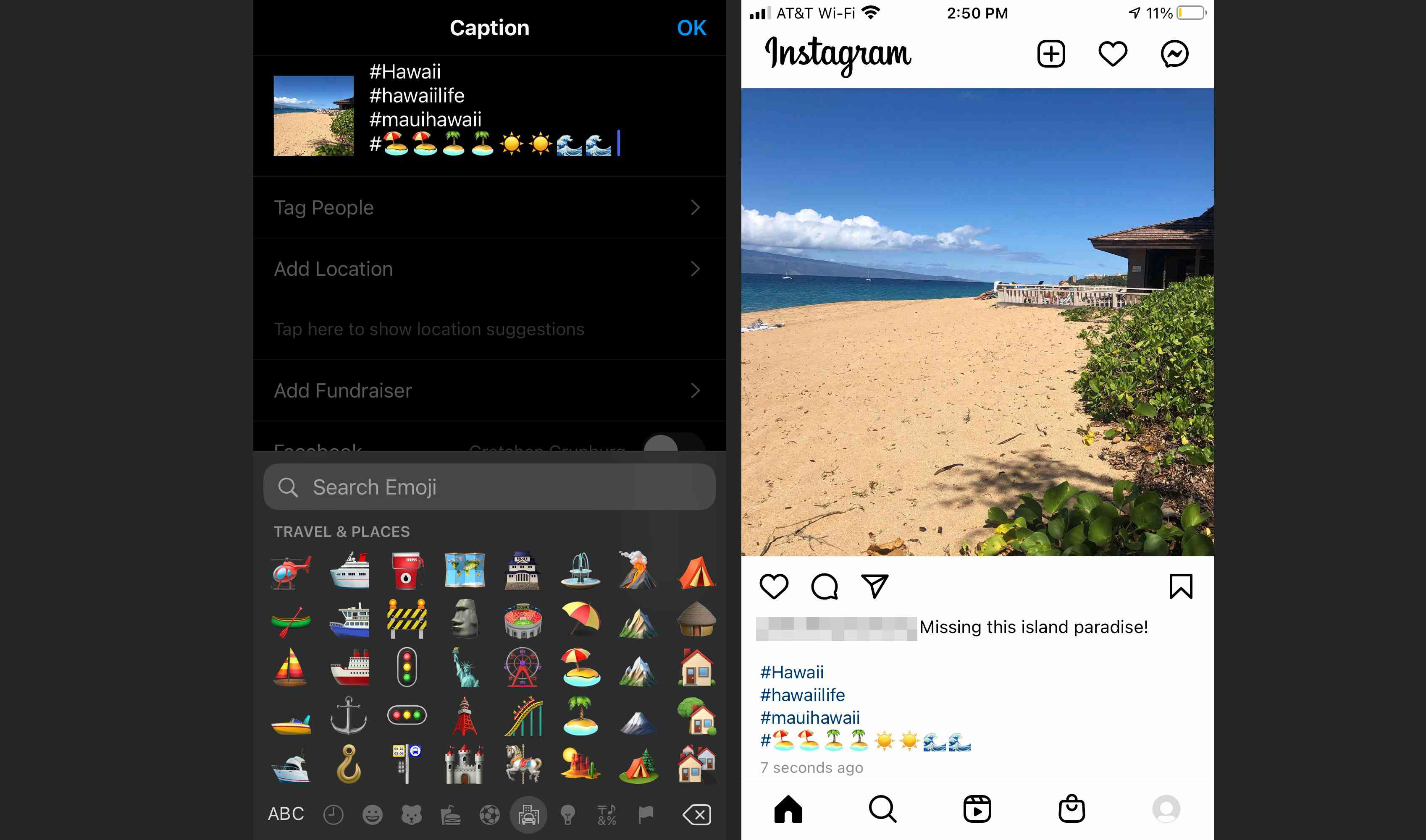 Add multiple hashtag emojis and then share your post