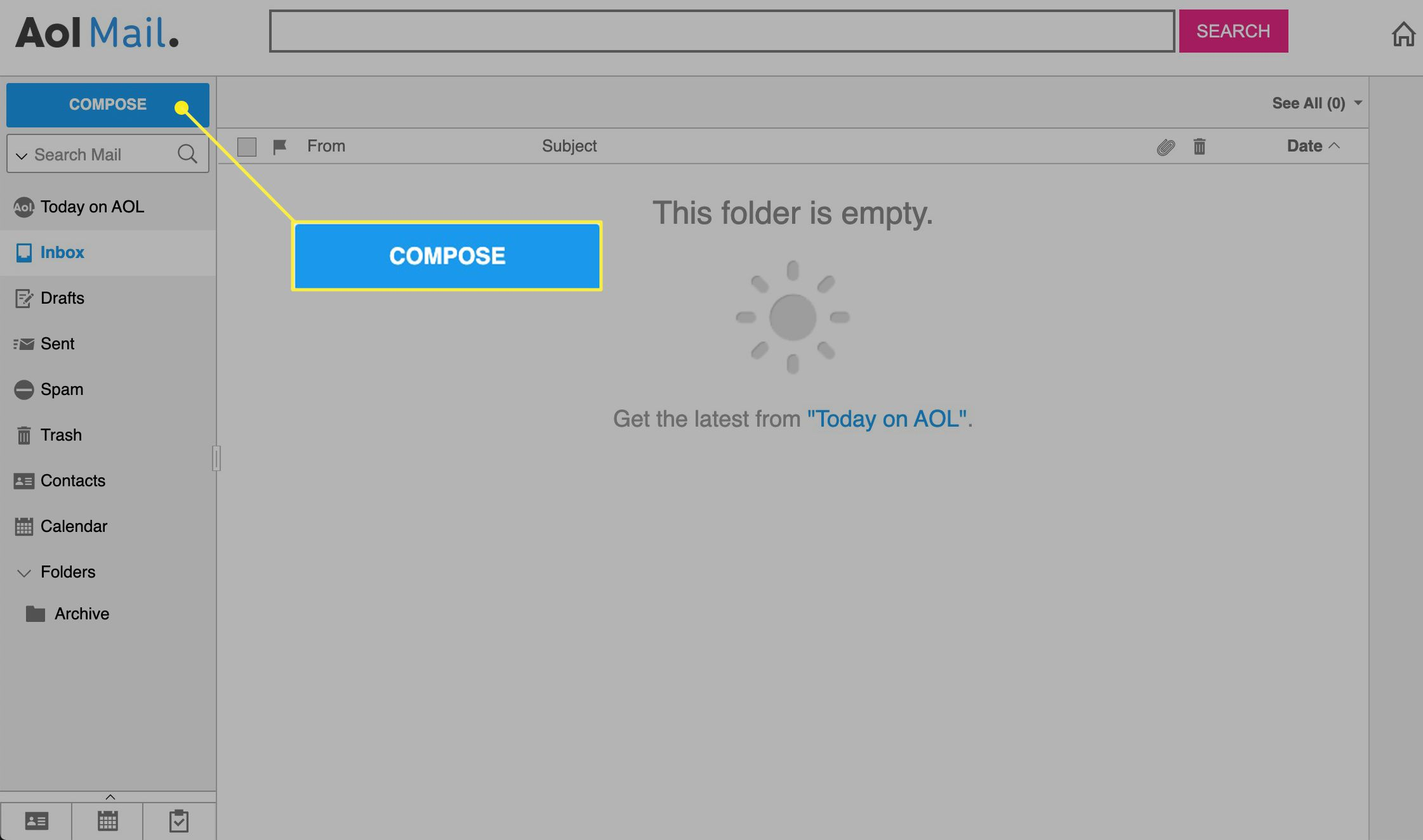 AOL Mail with Compose highlighted