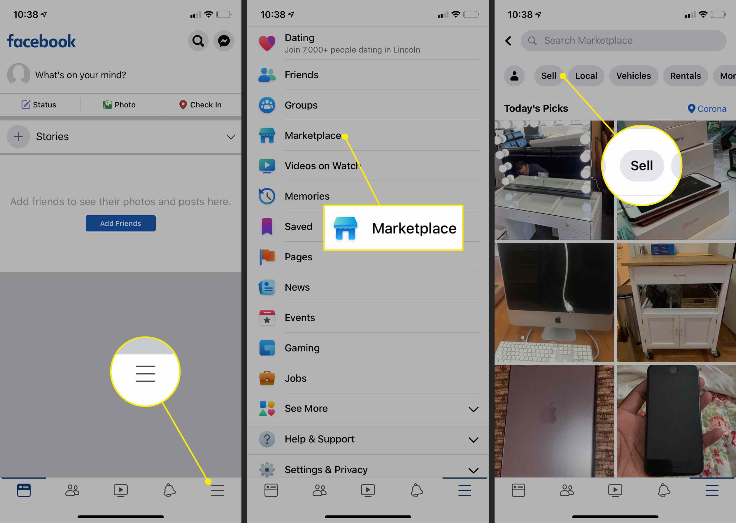 Starting a listing on Facebook Marketplace on mobile