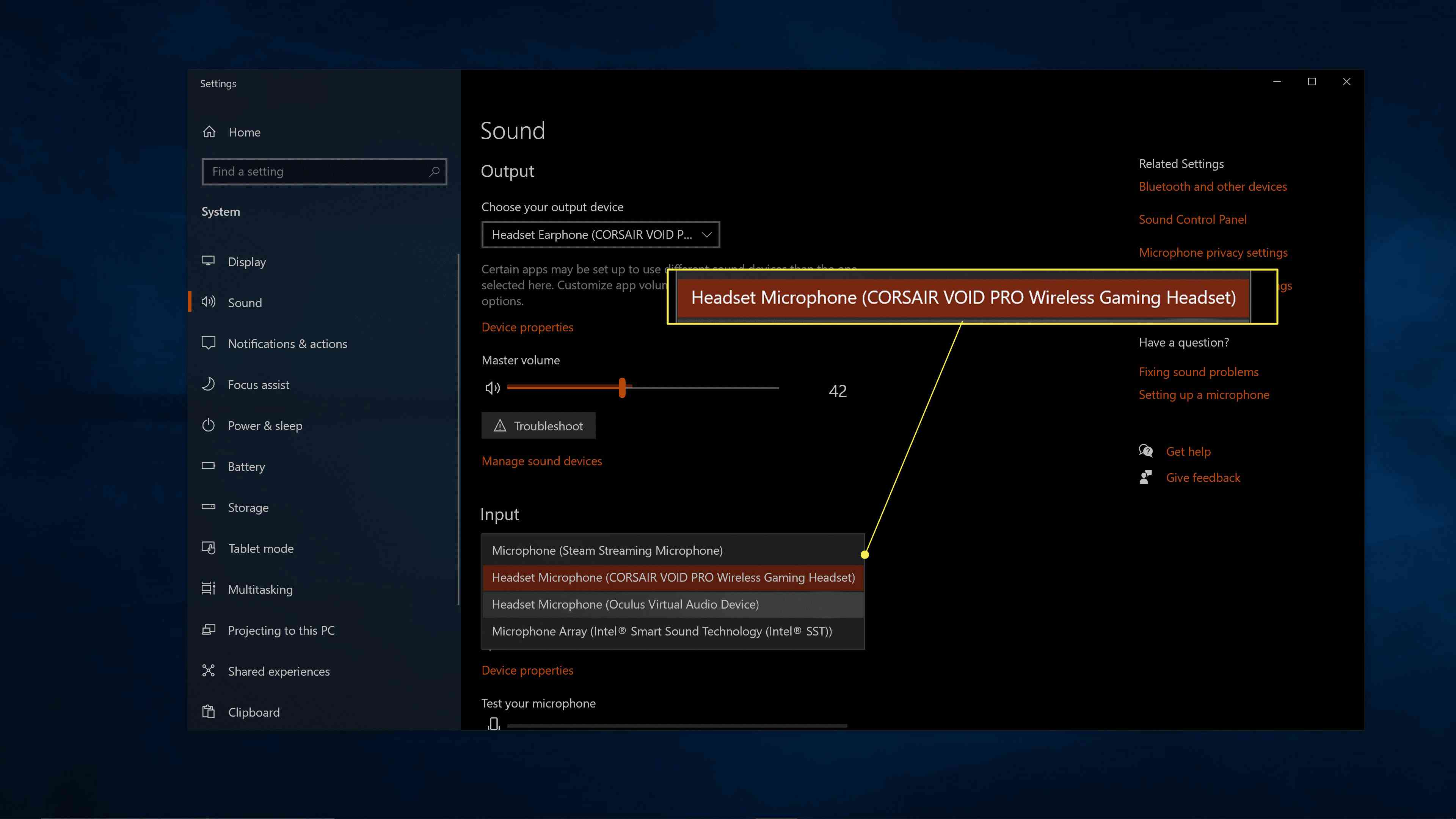 Headset Microphone (Oculus Virtual Audio Device) highlighted in Windows sound settings.