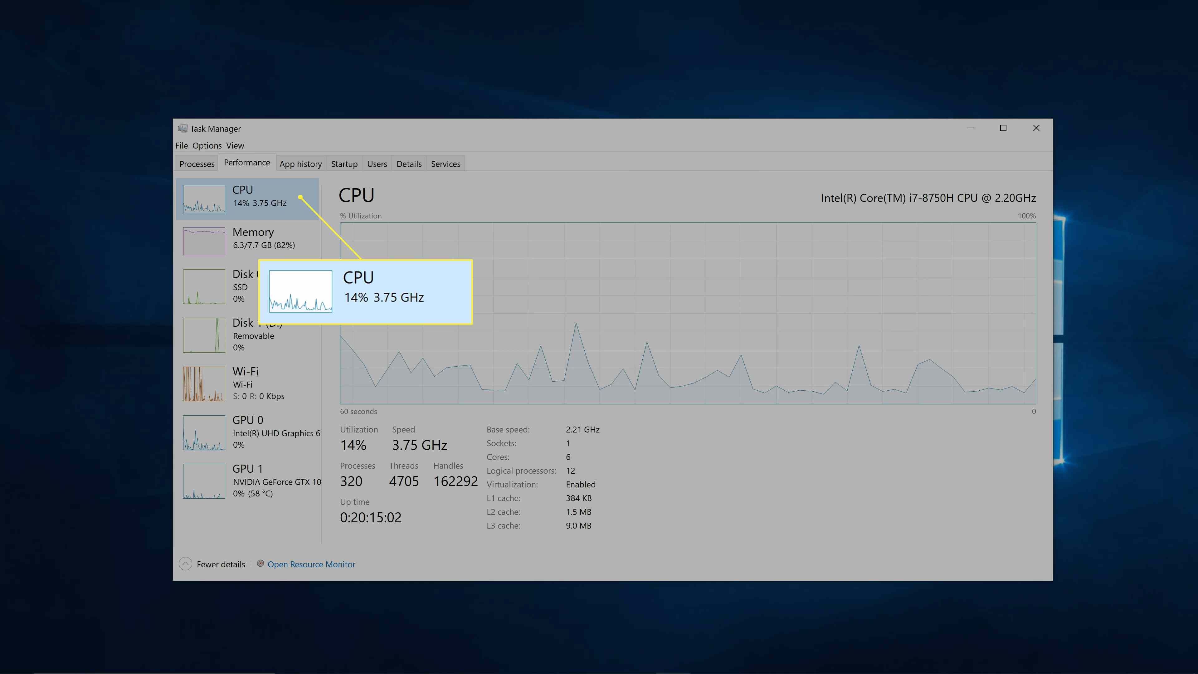 Windows CPU specs.