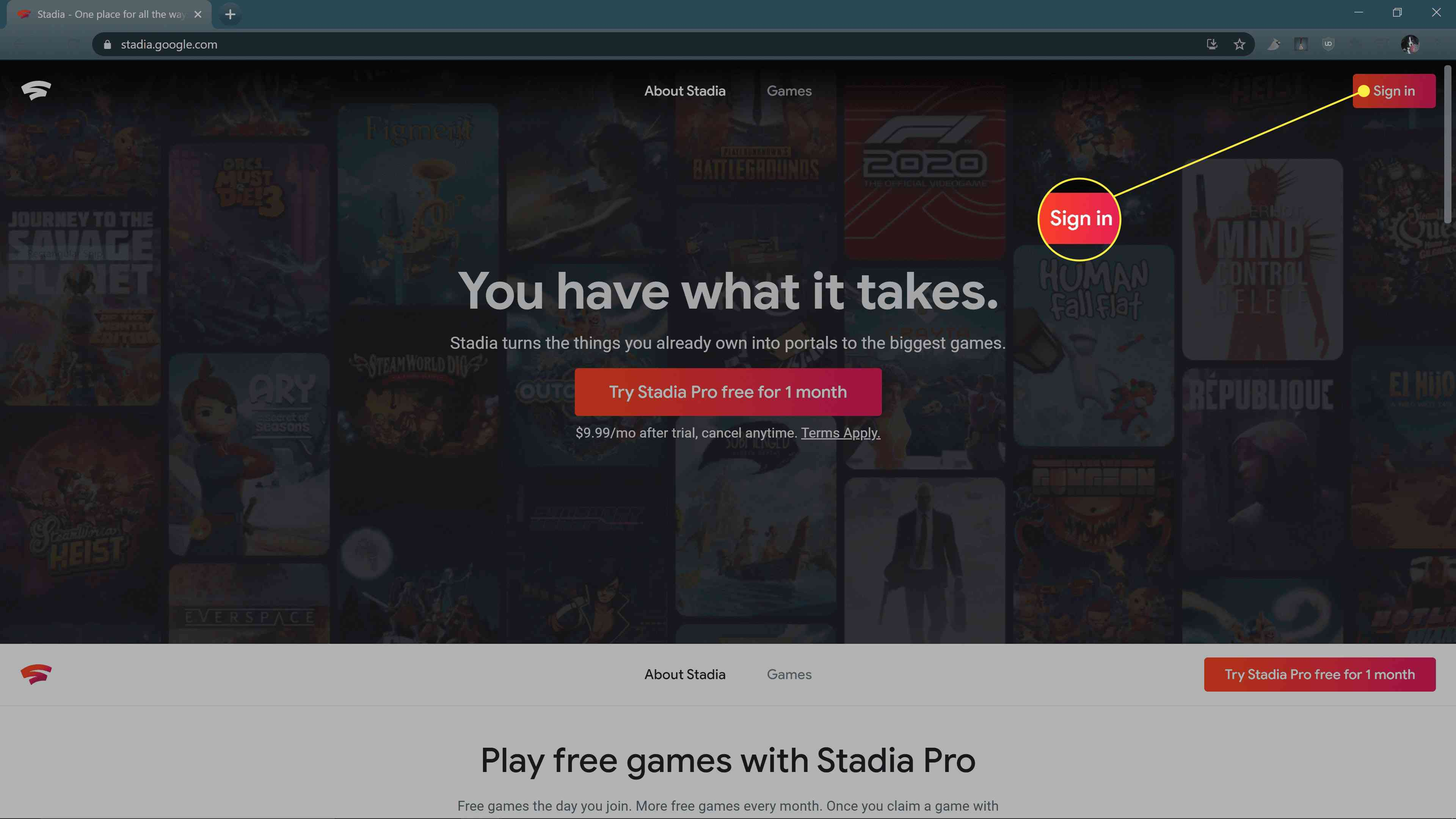 The sign in button highlighted on the Stadia website.