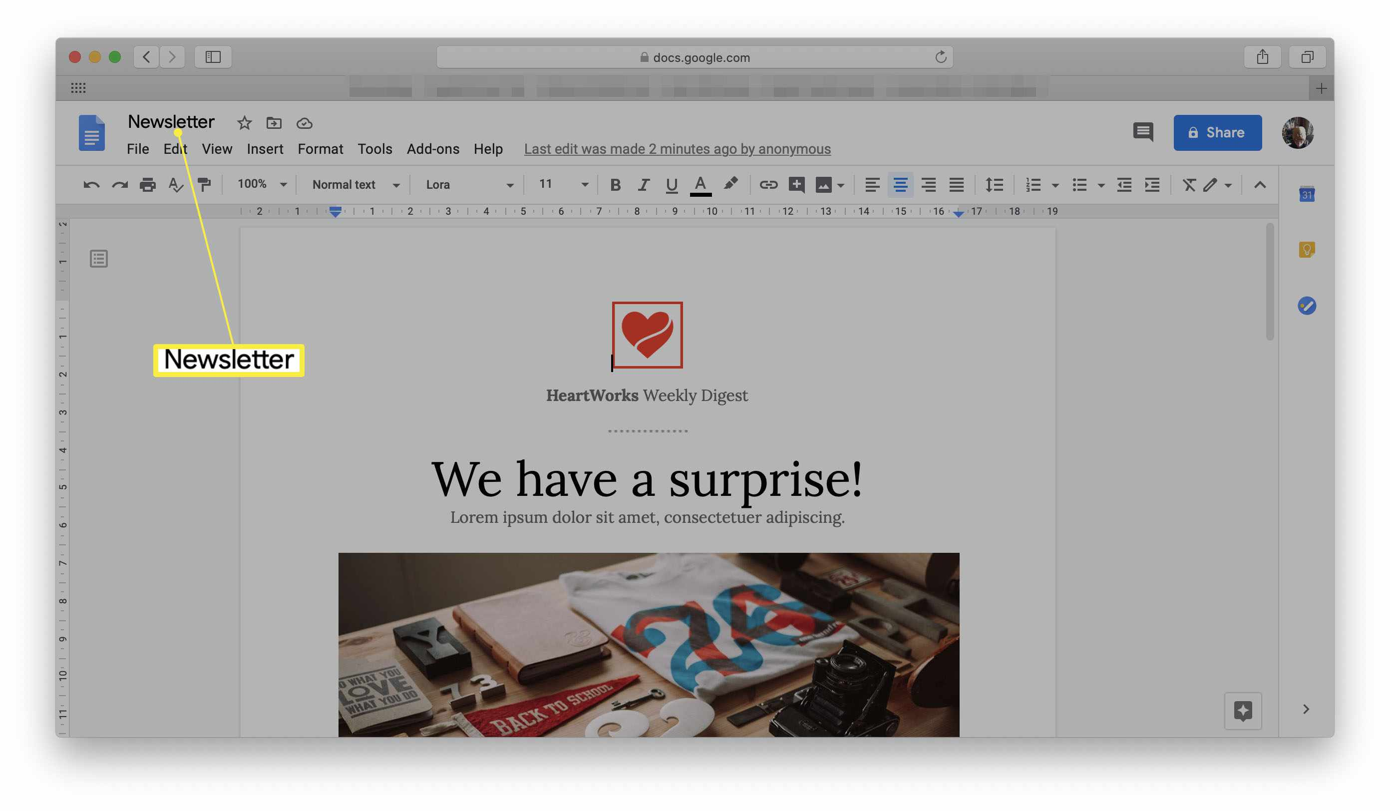 Google Docs with a Newsletter template open and the title highlighted