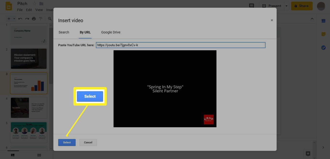 Insert video > Select in Google Slides