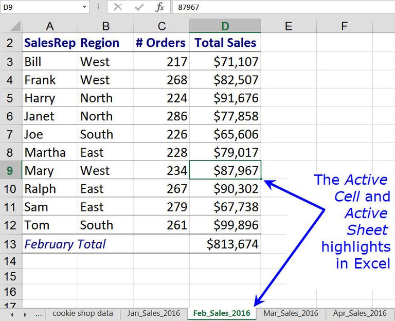 The Active Cell and Active Sheet HIghlights in Excel