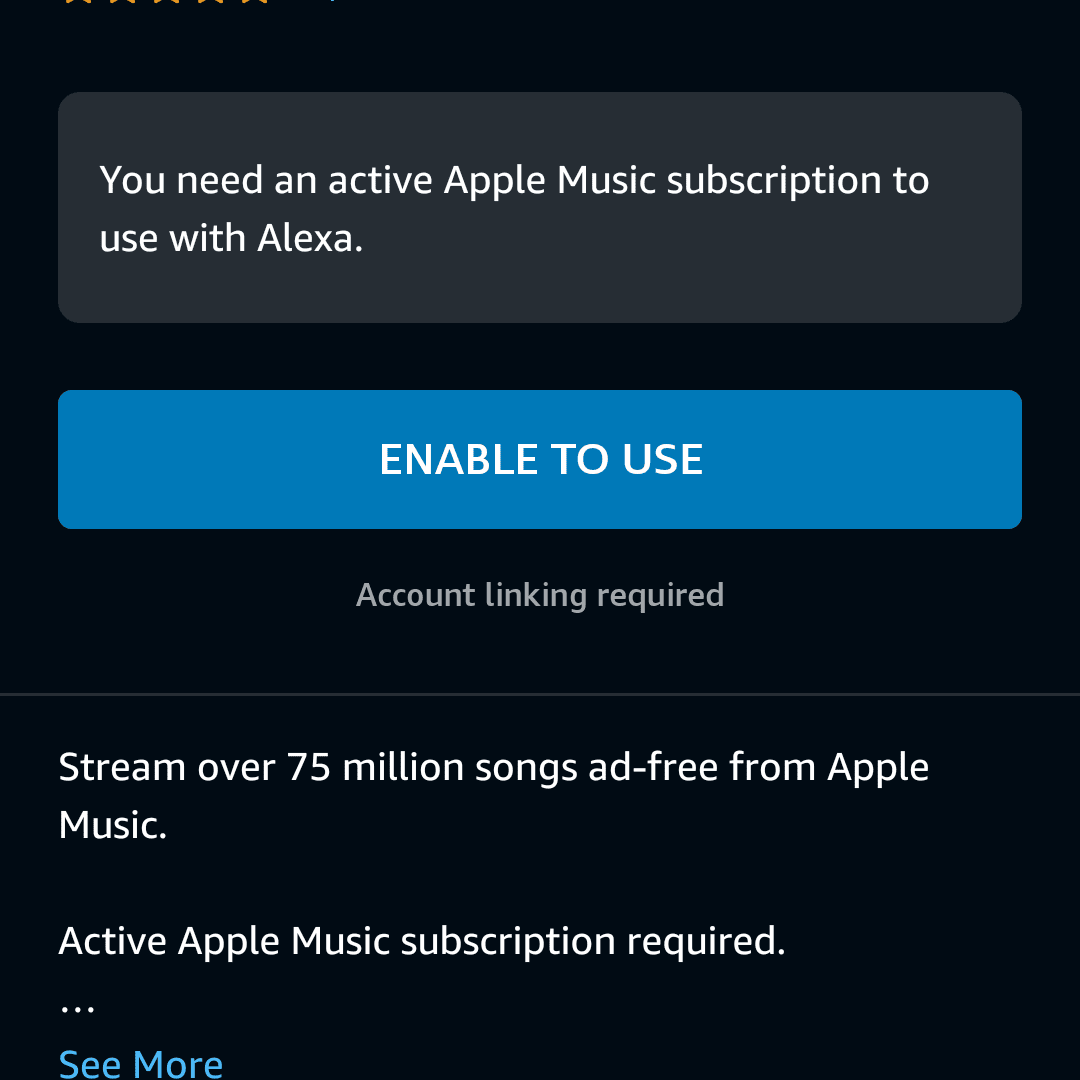 Enable to Use highlighted in the Alexa app.