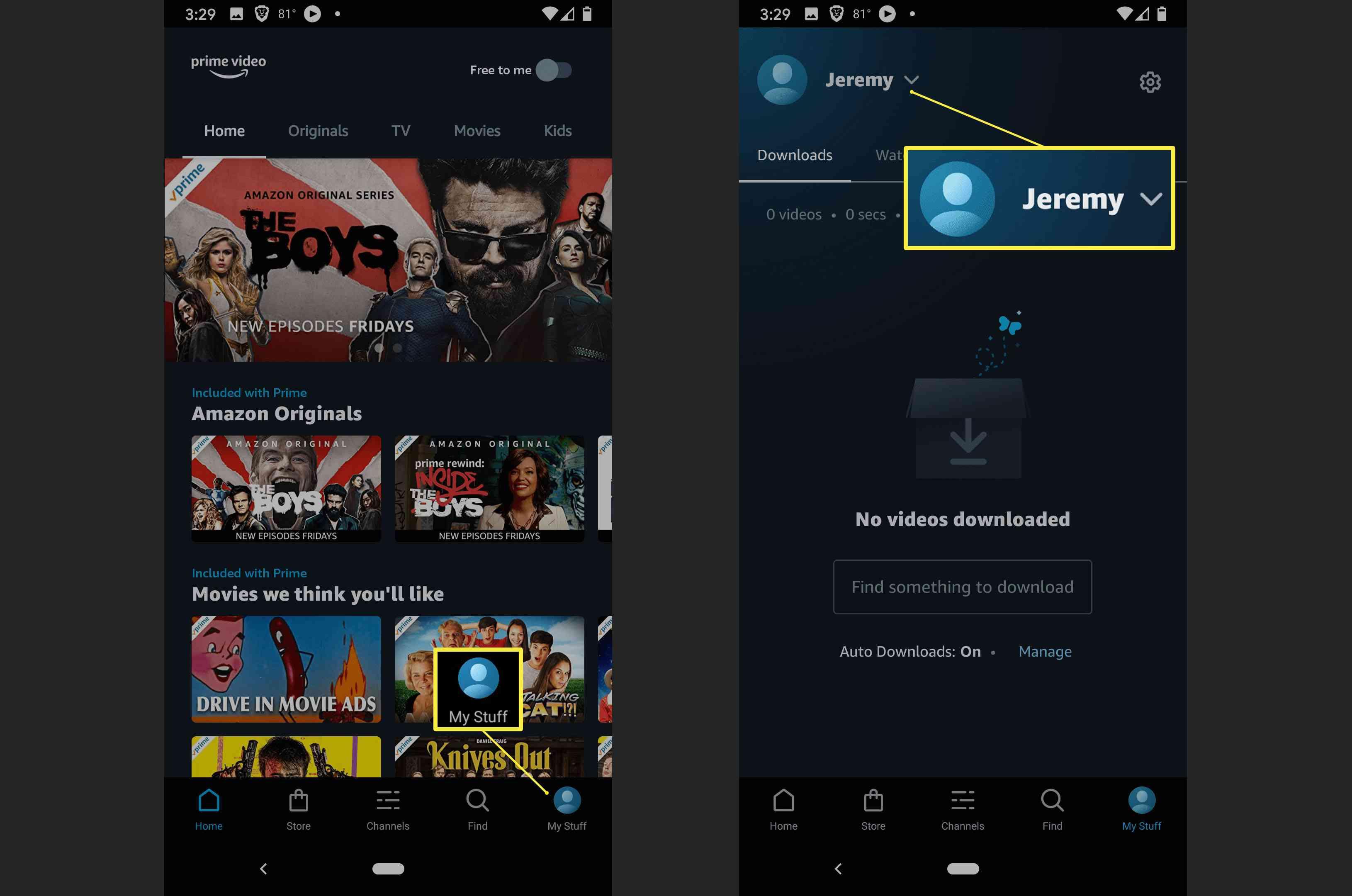 Amazon Prime Video's profile menu.