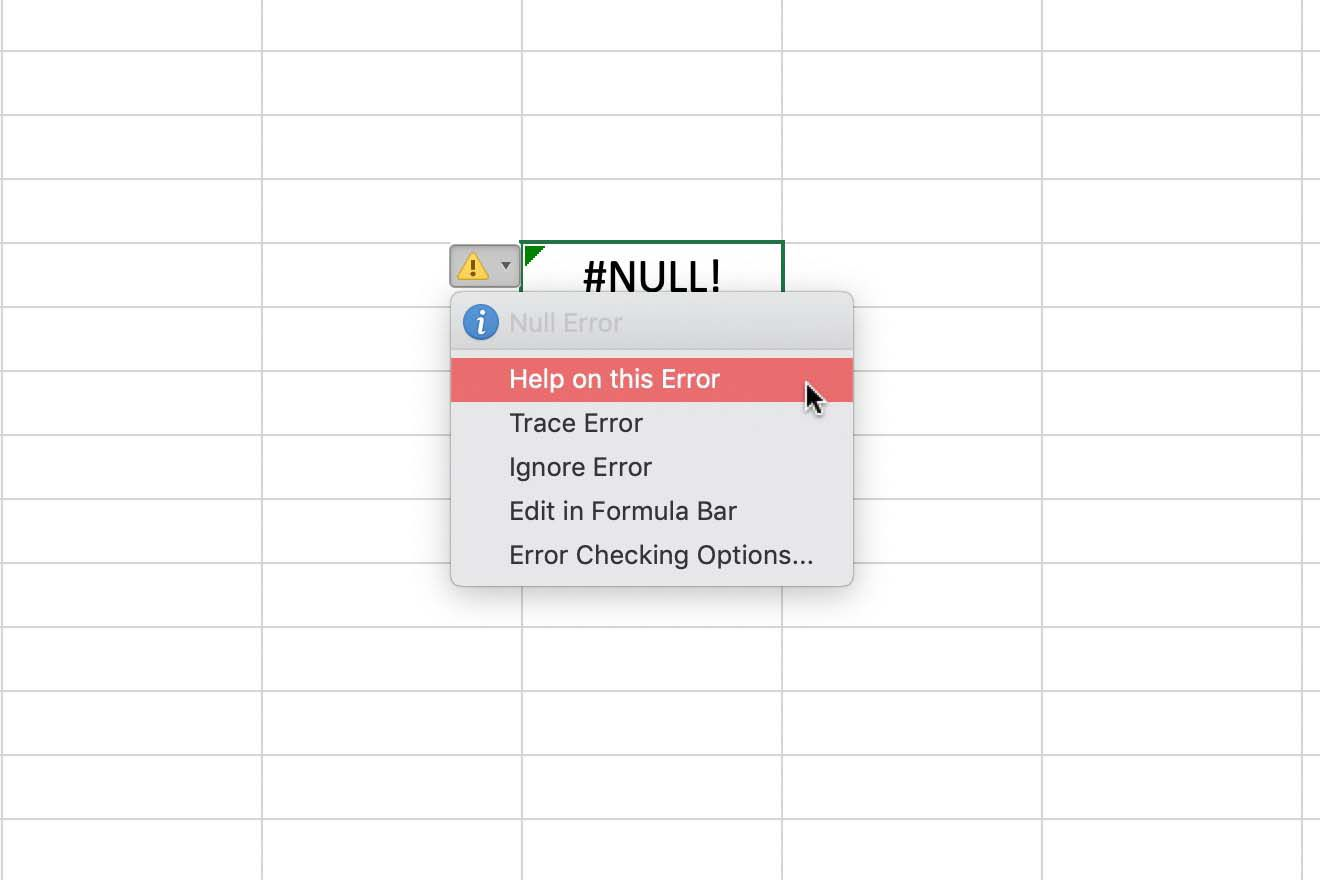 NULL, REF, DIV/20, and  Errors in Excel