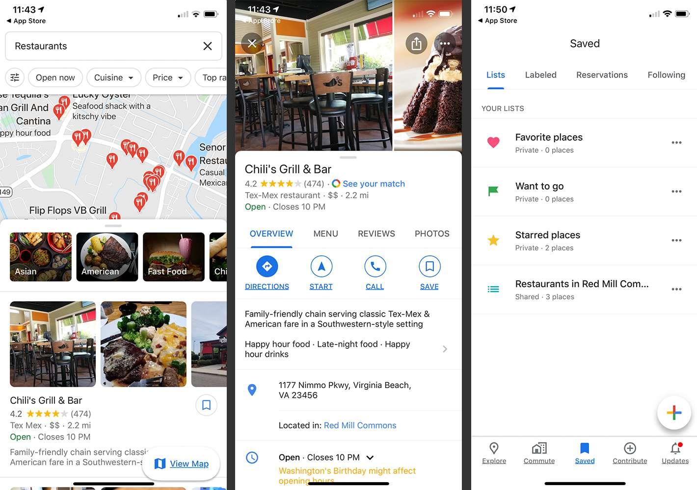 Google Maps app showing restaurants