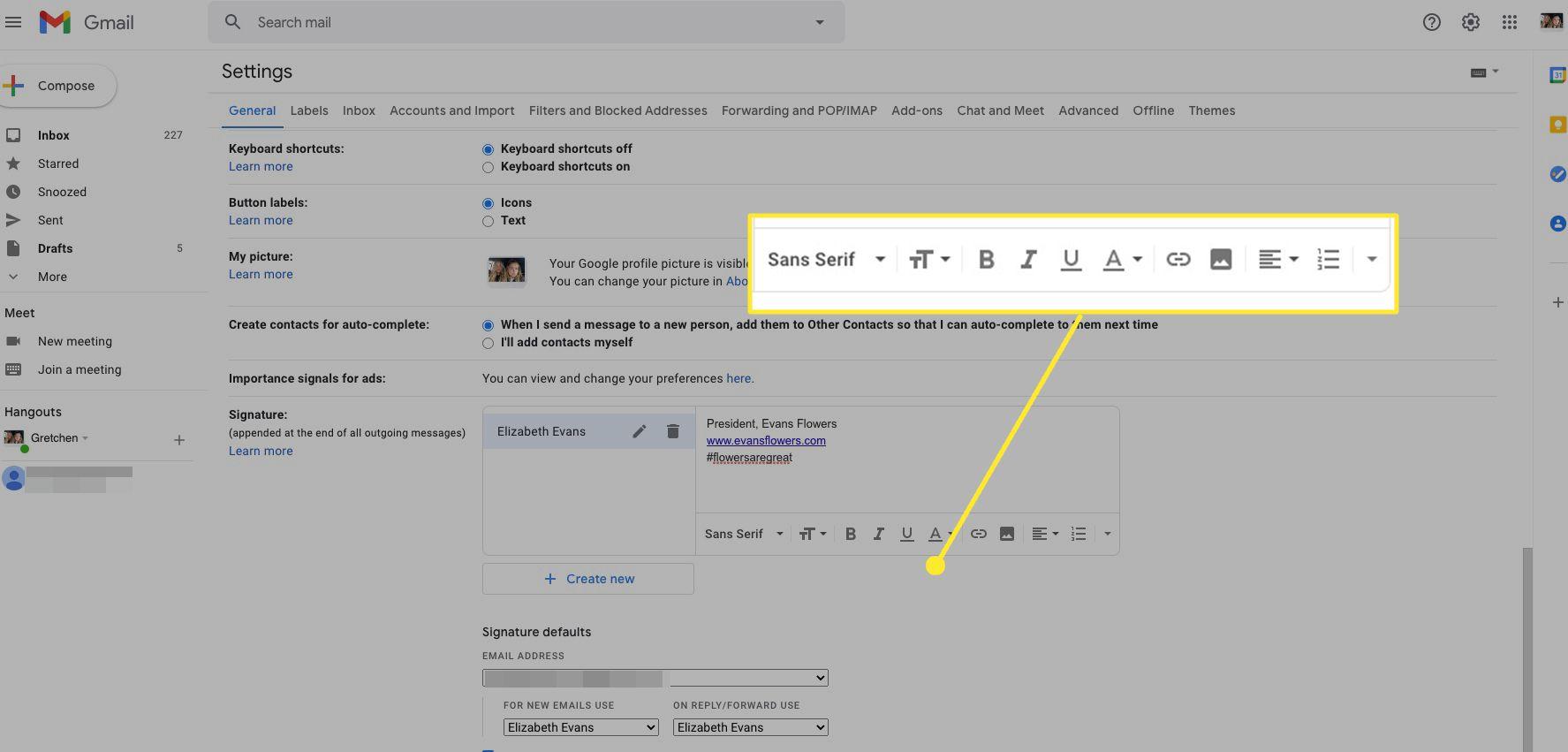 Gmail signature formatting toolbar highlighted