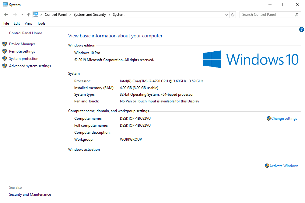 Windows 10 System window