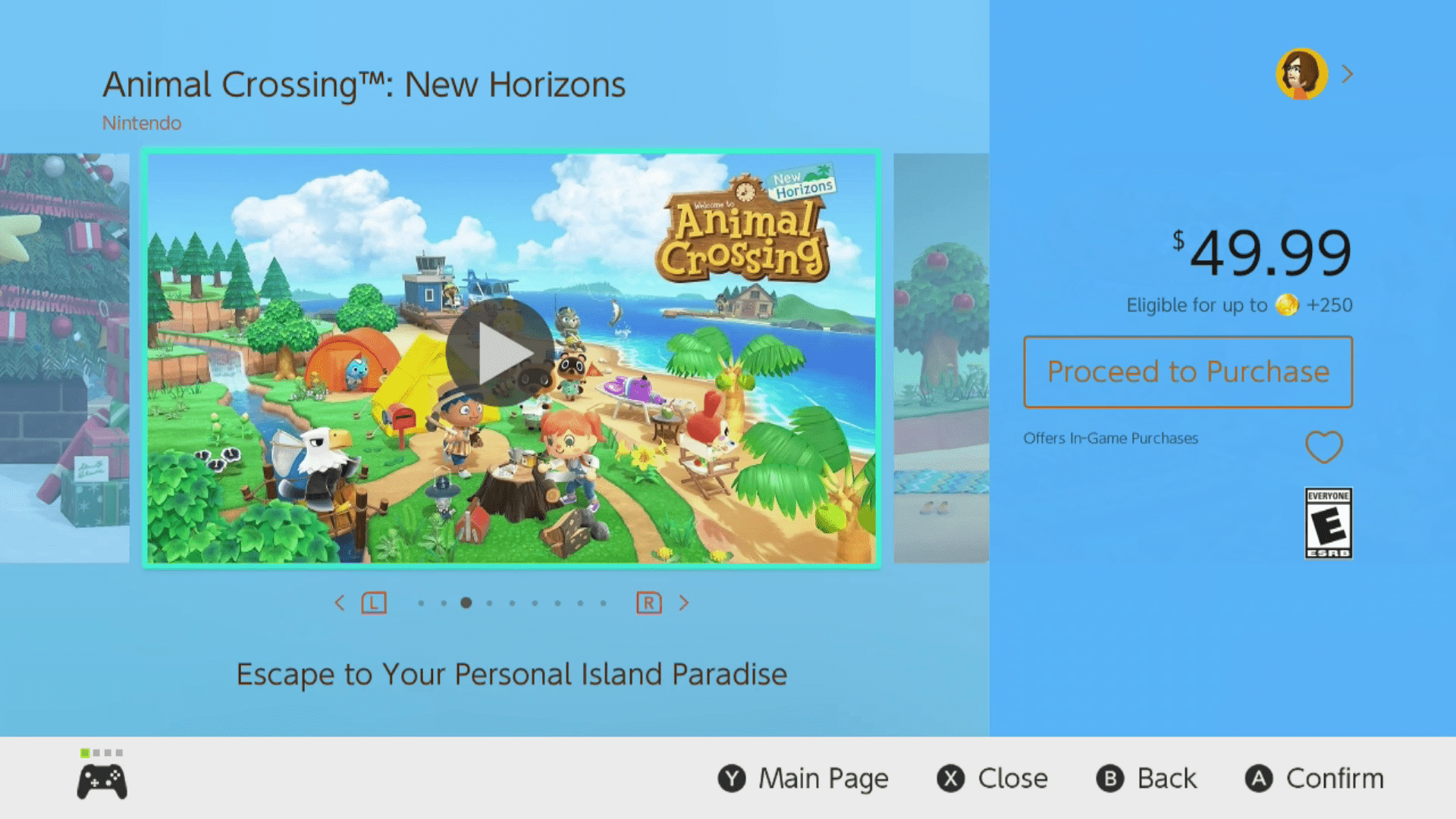 Proceed to Purchase highlighted in the Nintendo eShop.