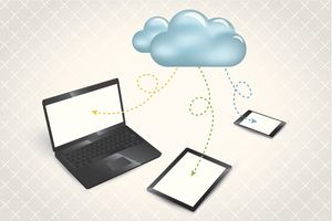 An illustration of cloud syncing to phones, tablets, and computers.