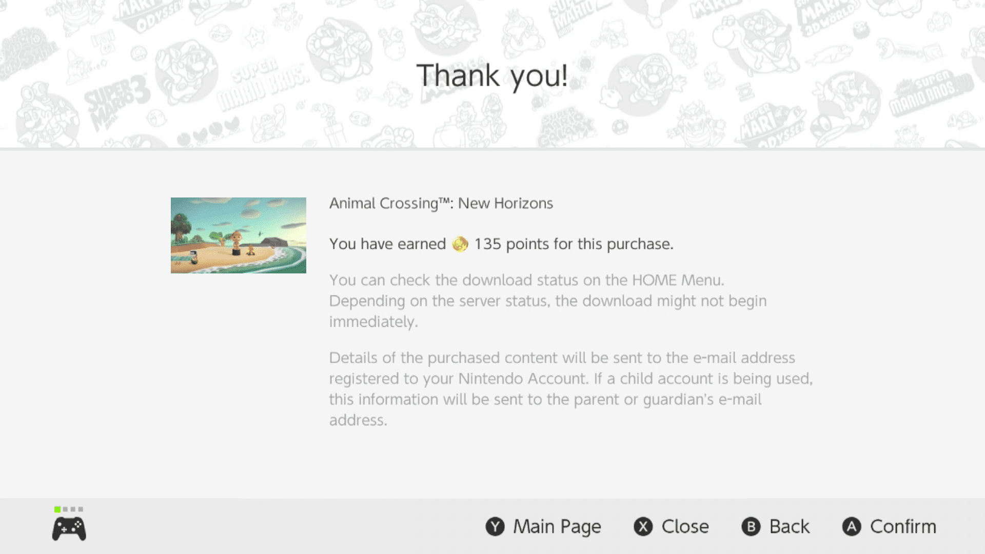 Animal Crossing: New Horizon purchased from the Nintendo eShop.