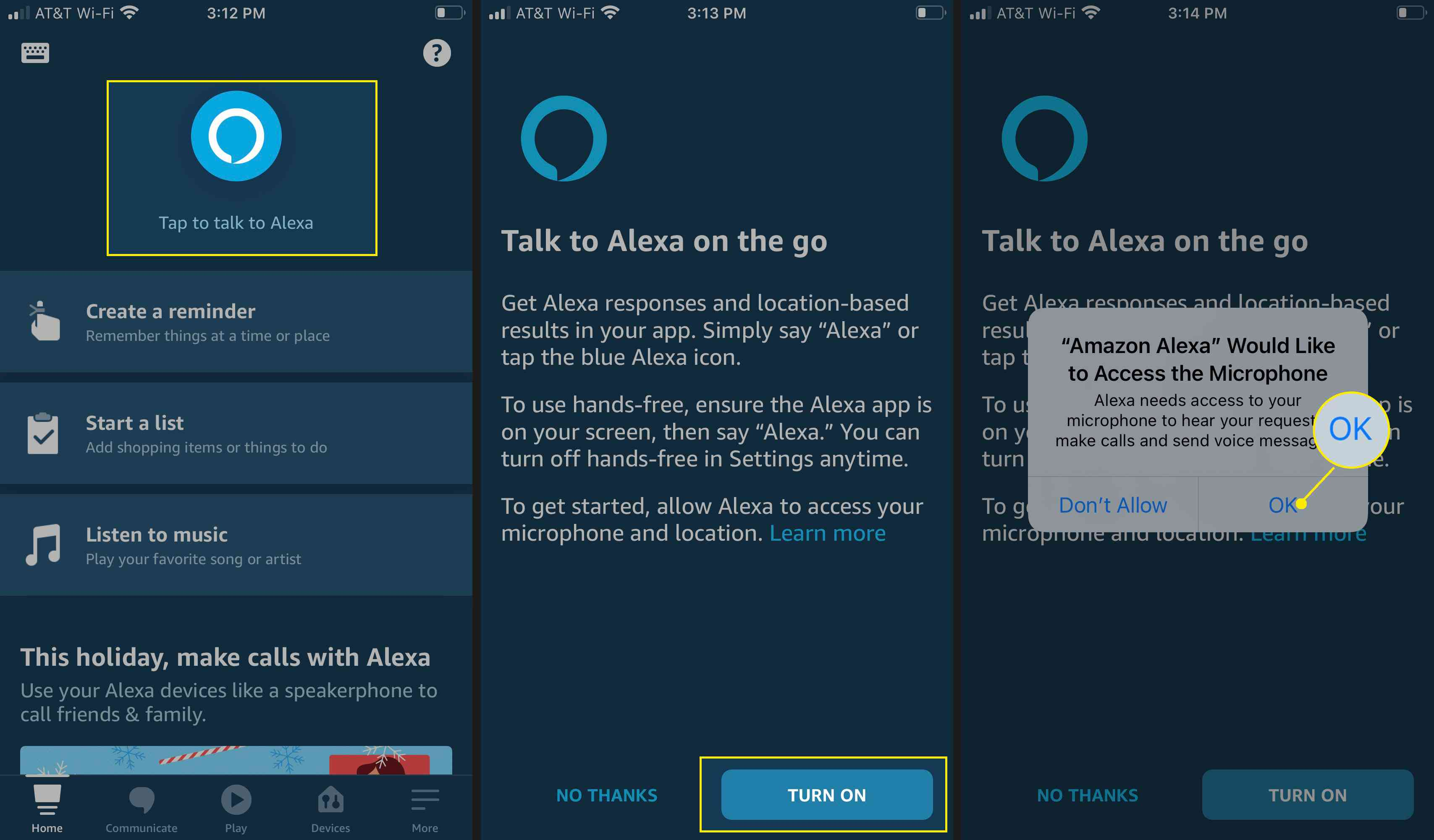 Tap to talk to Alexa, then turn on mobile and microphone access.
