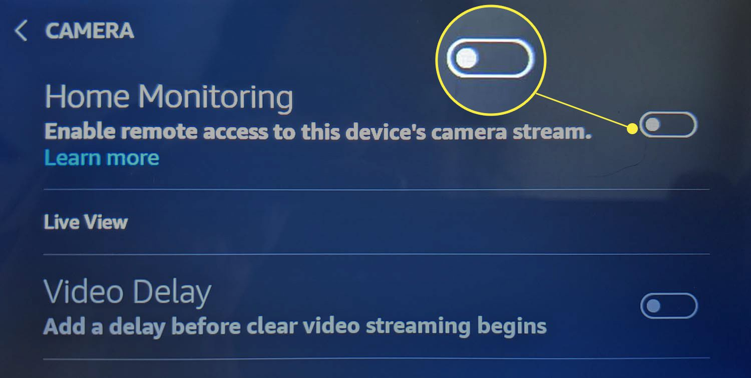 The Home Monitoring toggle highlighted in Echo Show camera settings.