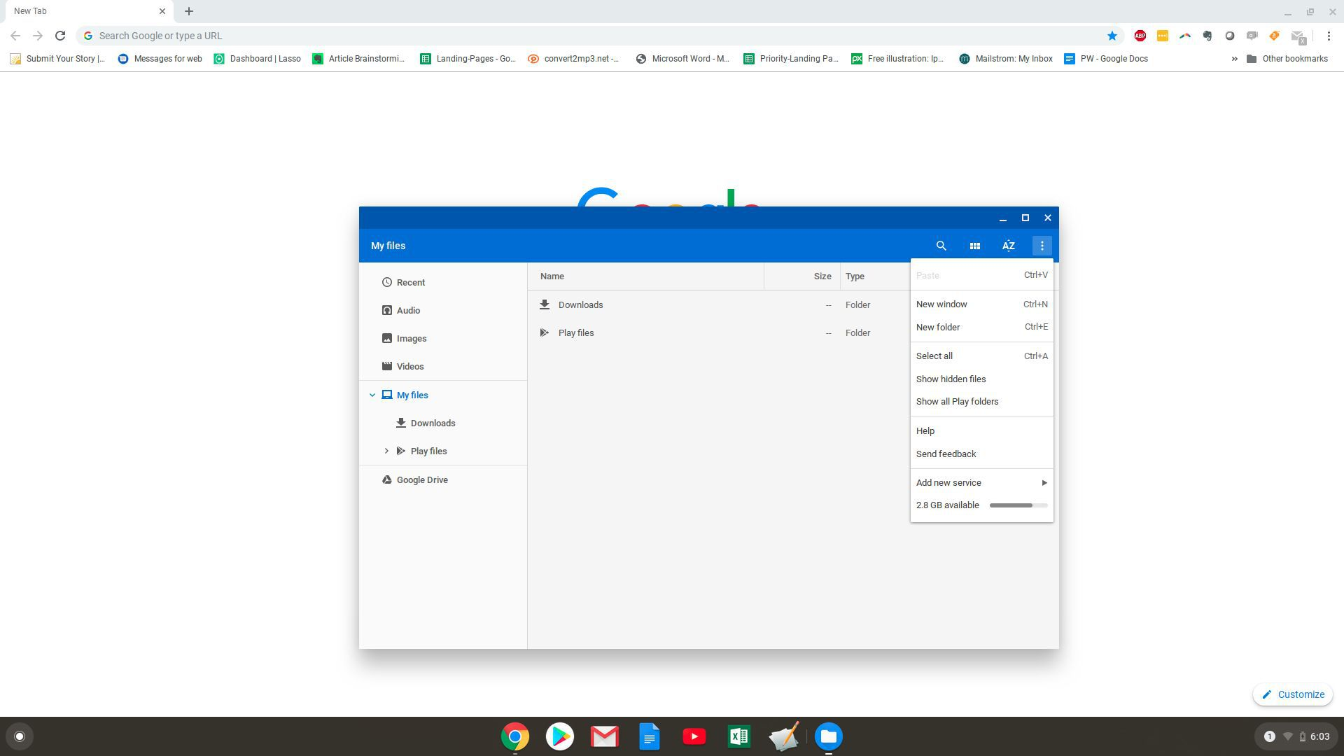 Screenshot of available local storage on a Chromebook