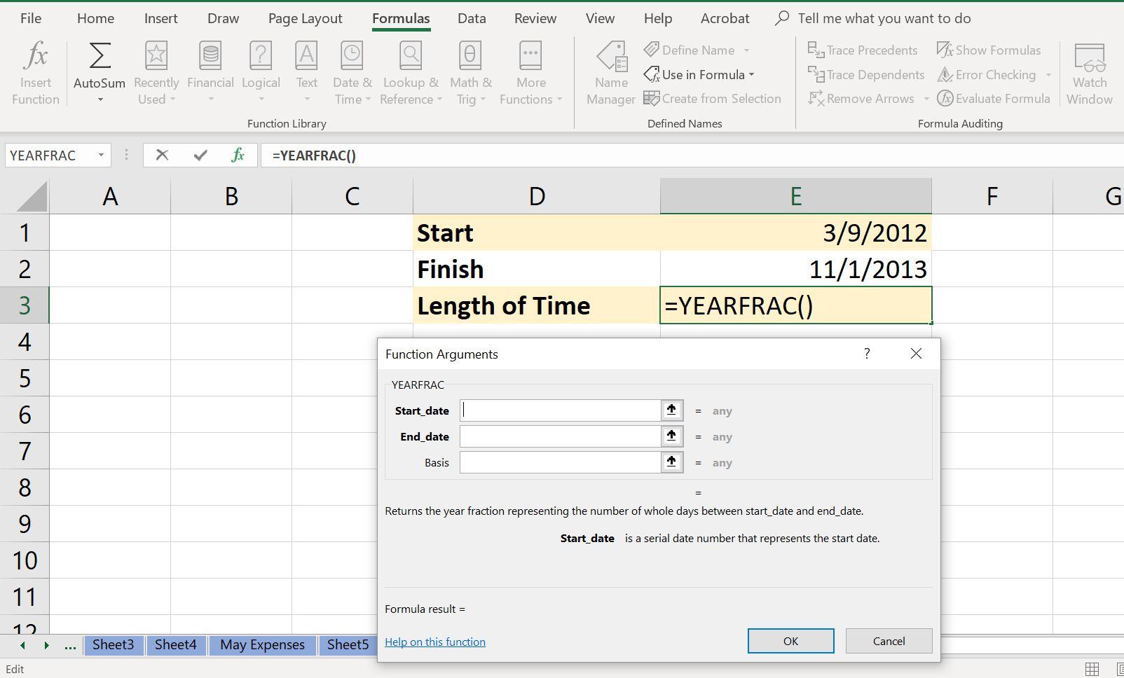 Excel spreadsheet showing the YEARFRAC Function Dialog Box