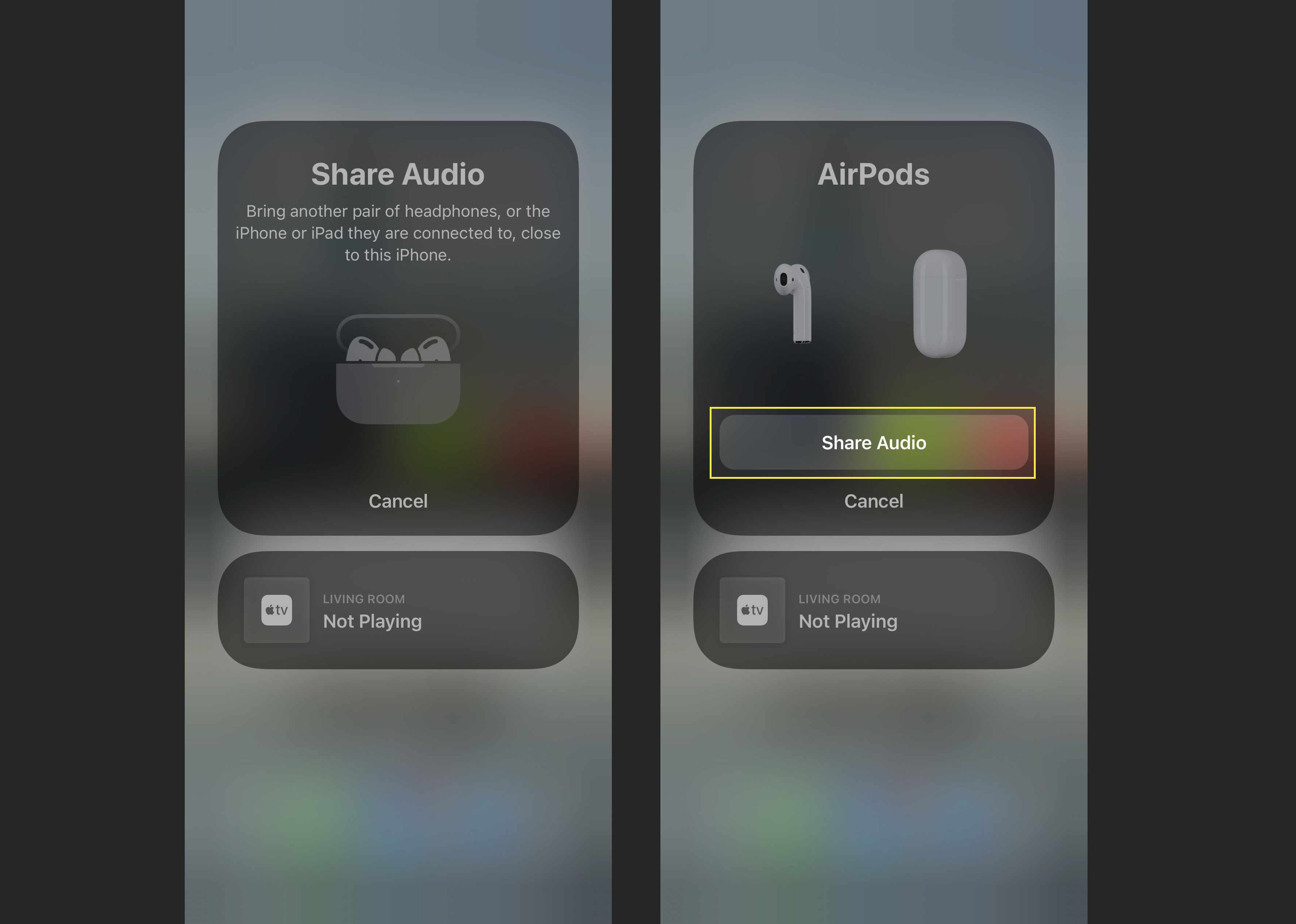 The Share Audio button to connect two sets of AirPods to one iPhone.