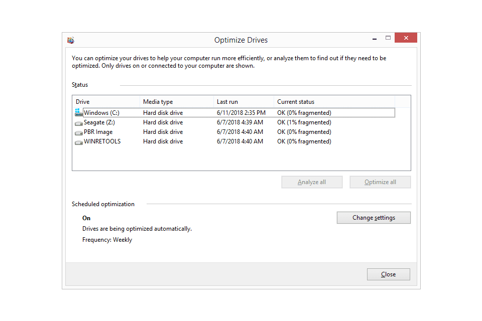 where is defrag in windows 10