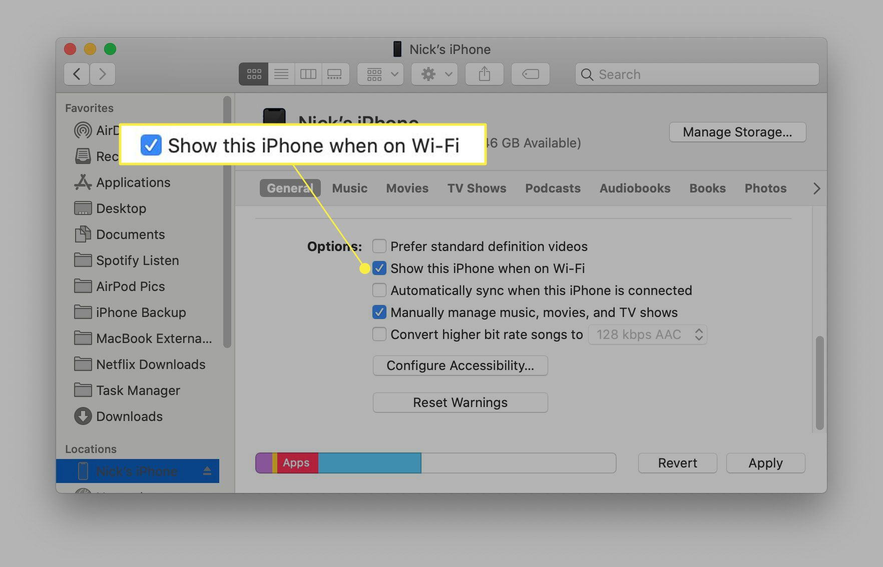 Show this iPhone when on Wi-Fi highlighted in Mac iPhone settings.