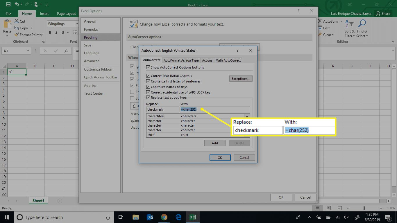 Excel Replace field