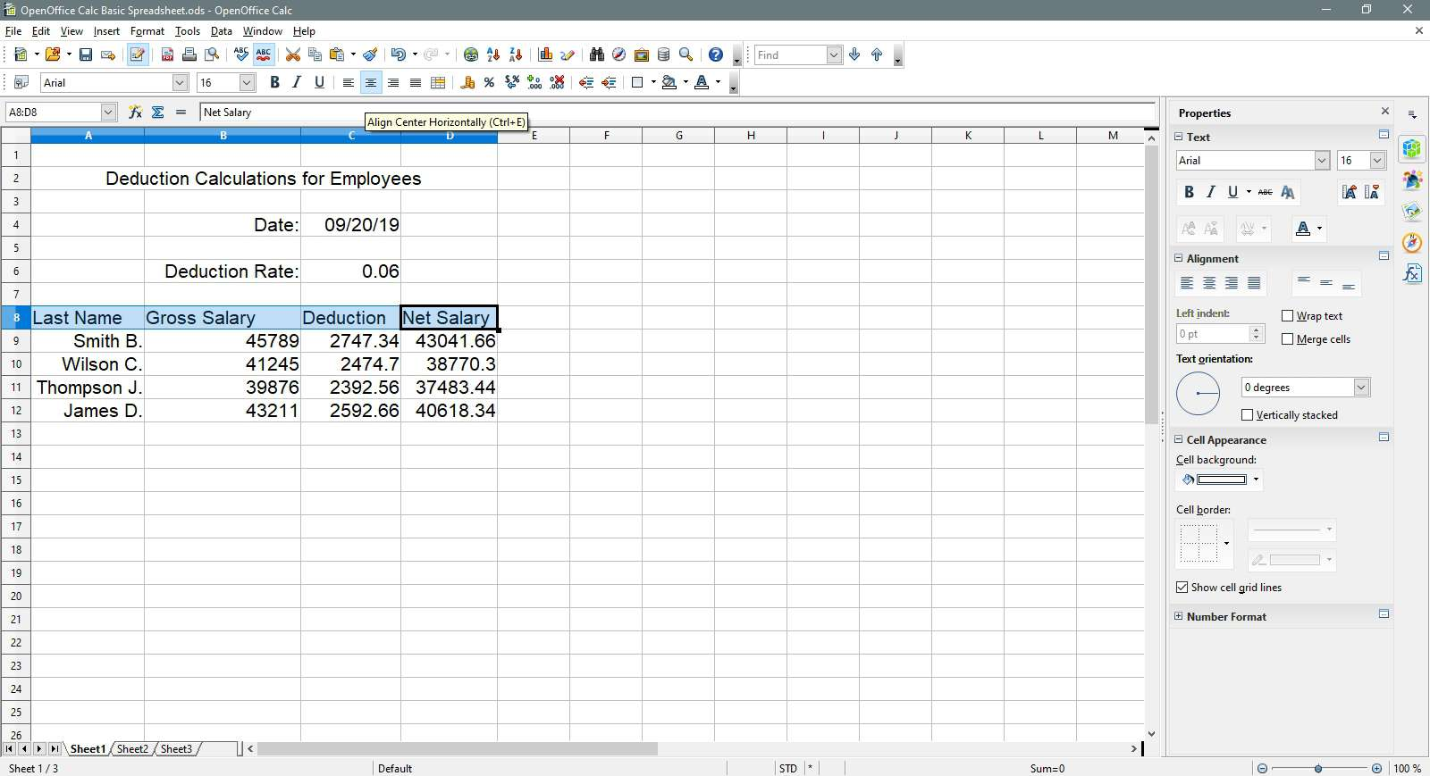 The header row is being aligned to the right in OpenOffice Calc.