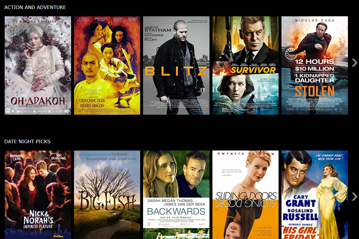 Screenshot of the IMDb TV list of free action and adventure movies
