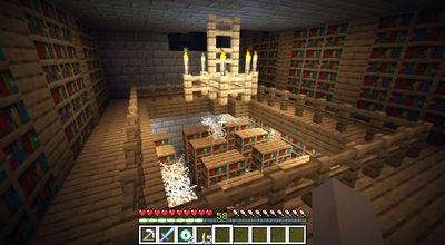 Bookshelves in a library in Minecraft.