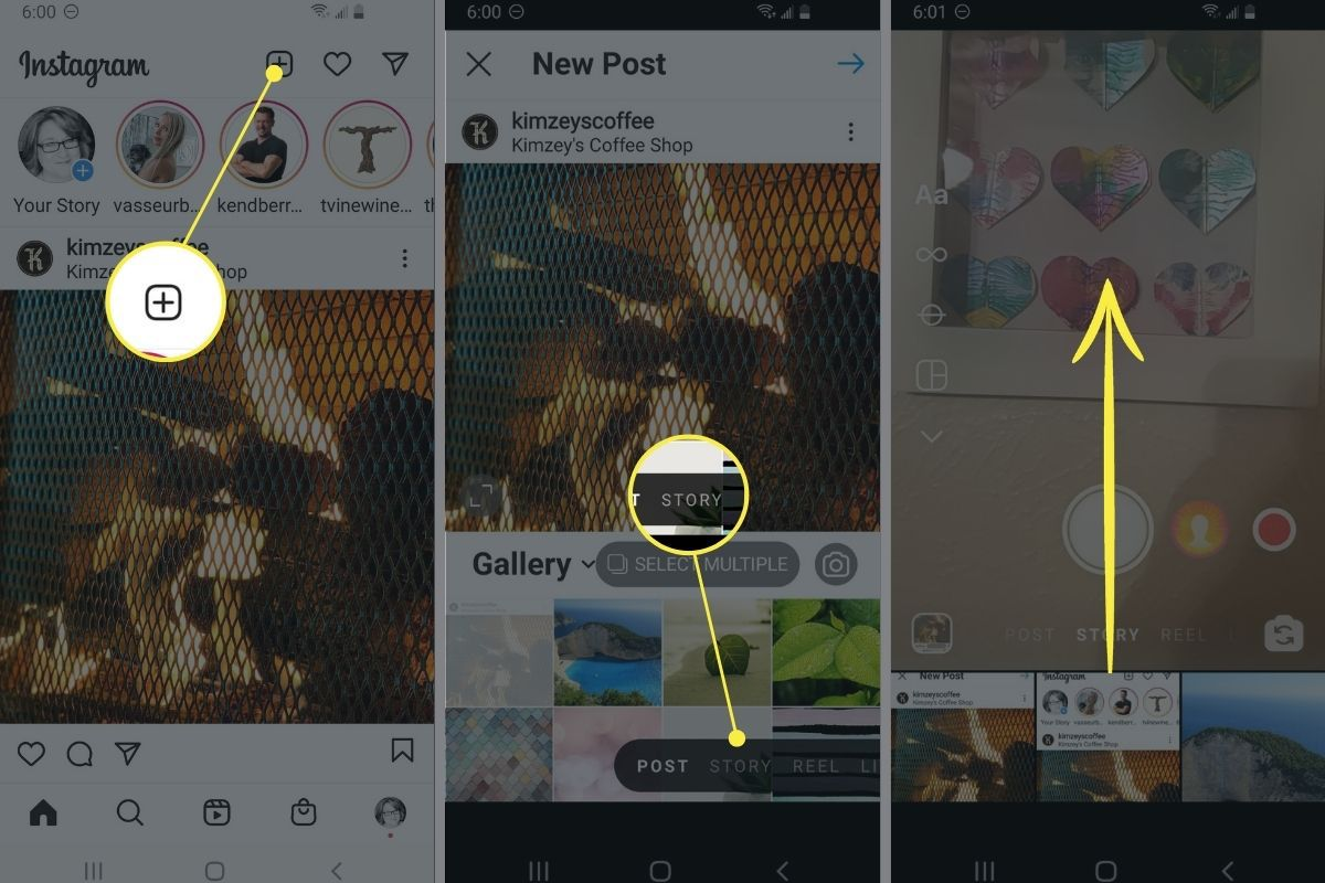 Accessing the gallery in Instagram