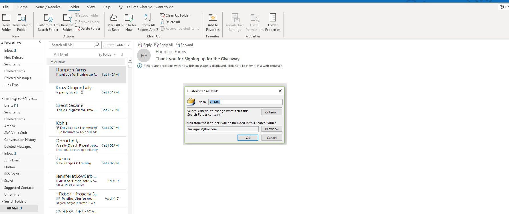 Screenshot of Customize All Mail dialog box