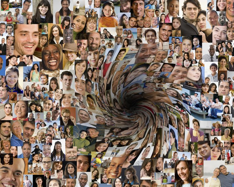 Swirling collage of faces into blackhole