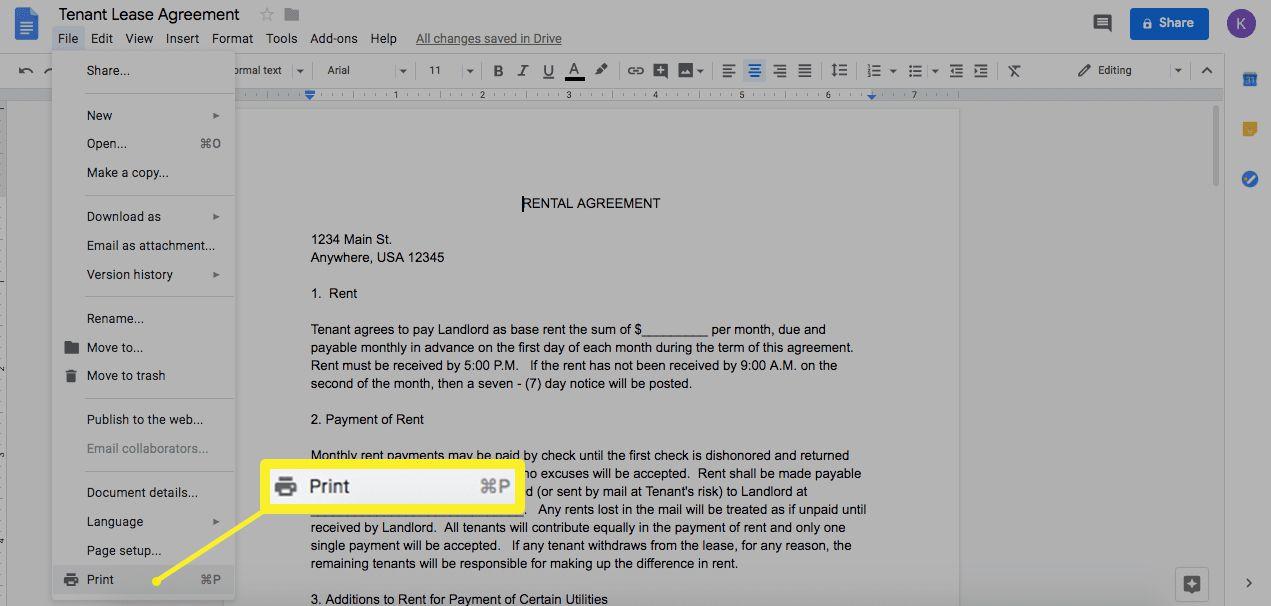 Print Google Doc to save to Google Drive
