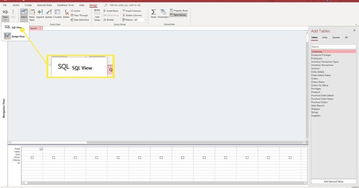 SQL View in SQL list
