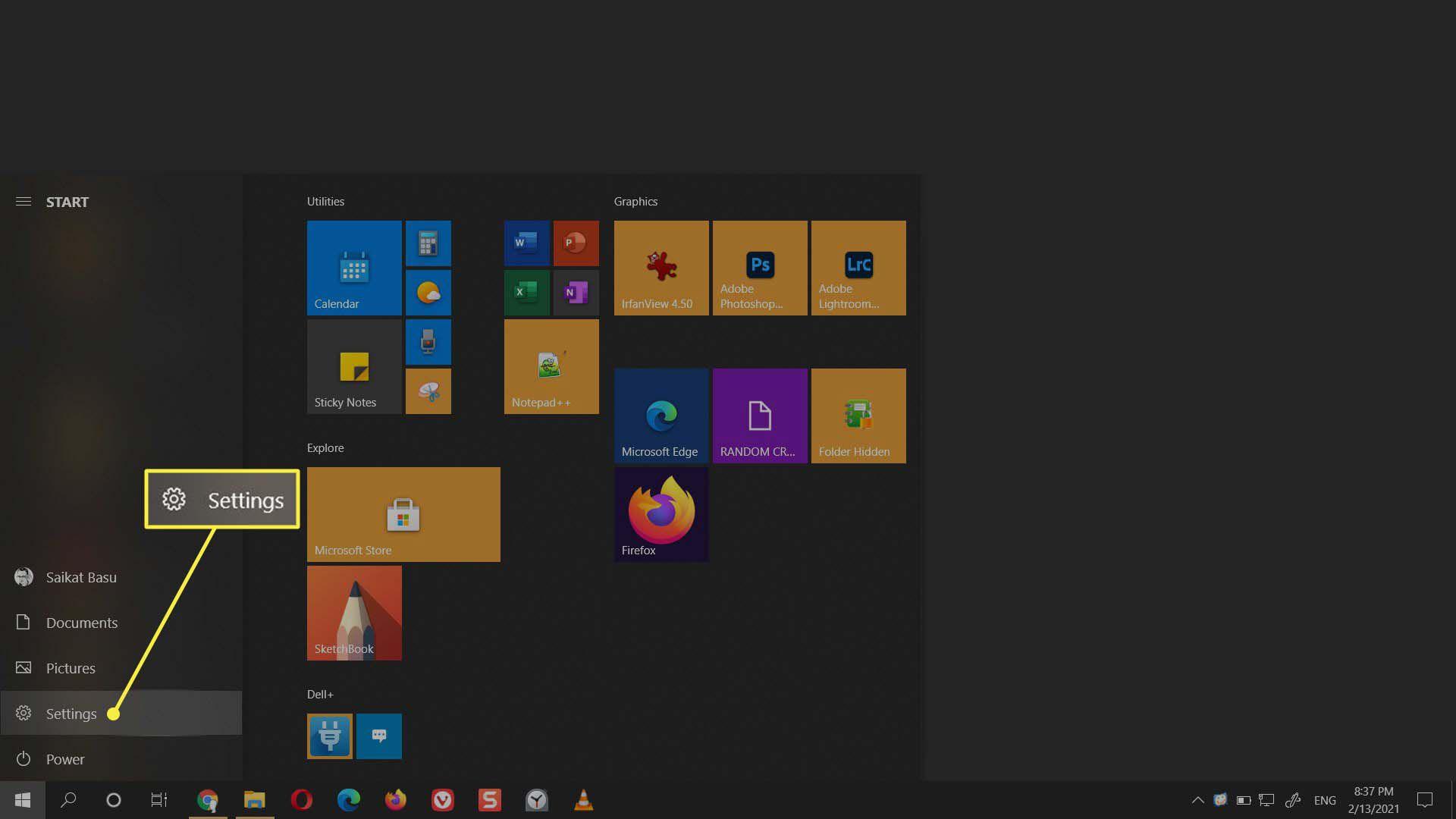 The Settings menu item from the Start menu in Windows.