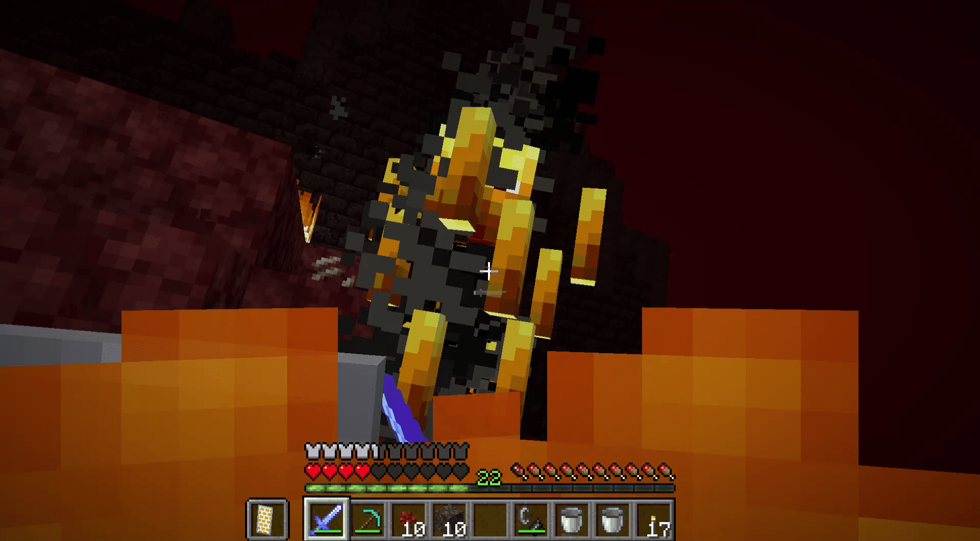 Fighting a Blaze in the Nether.