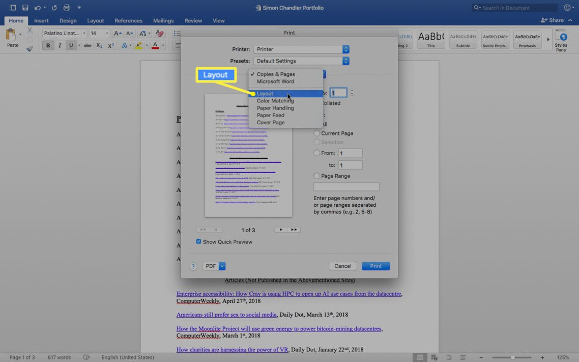 Print screen with Layout selected