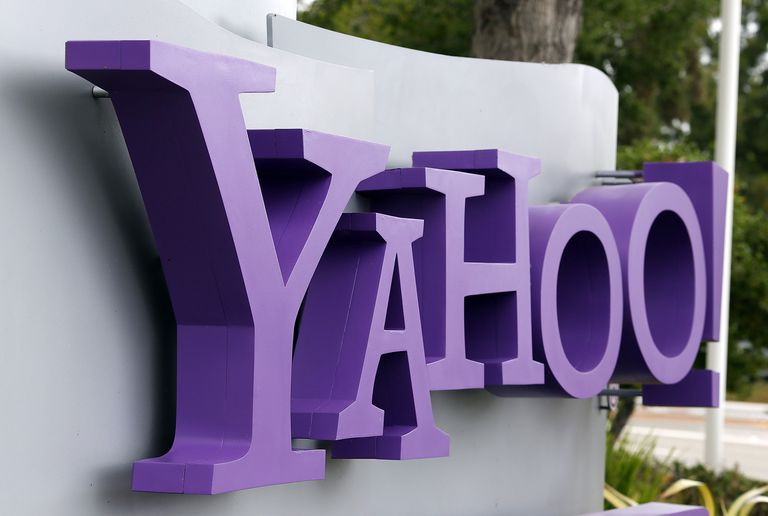 Yahoo logo on outdoor sign