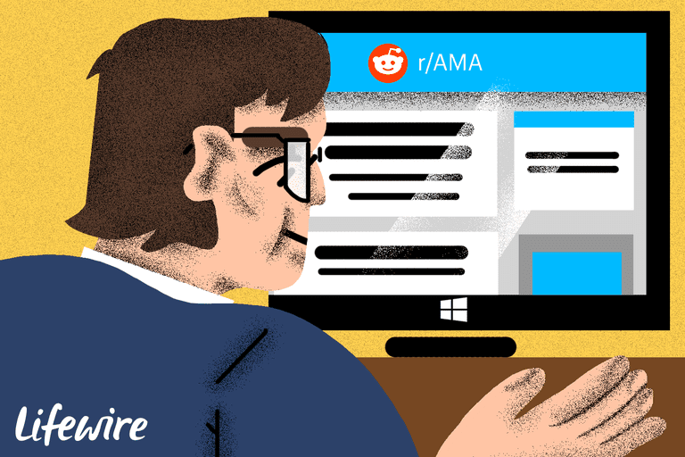 Illustration of a man who looks a bit like Bill Gates working on a screen that says Reddit r/AMA