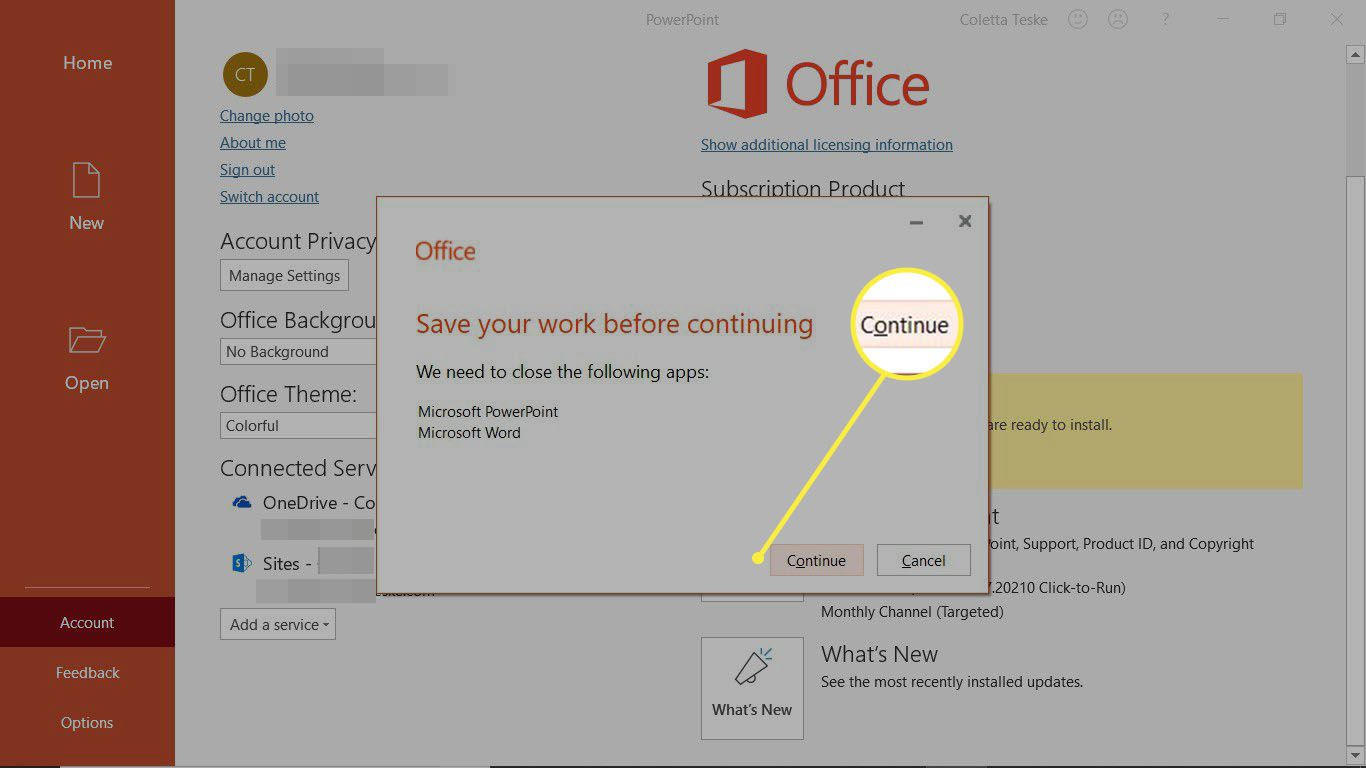 Save files and documents before continuing the Office Update