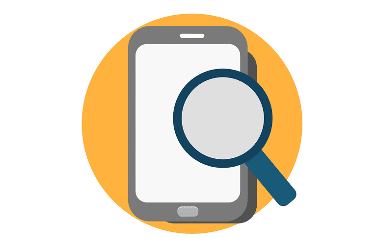 Magnifying glass over a phone
