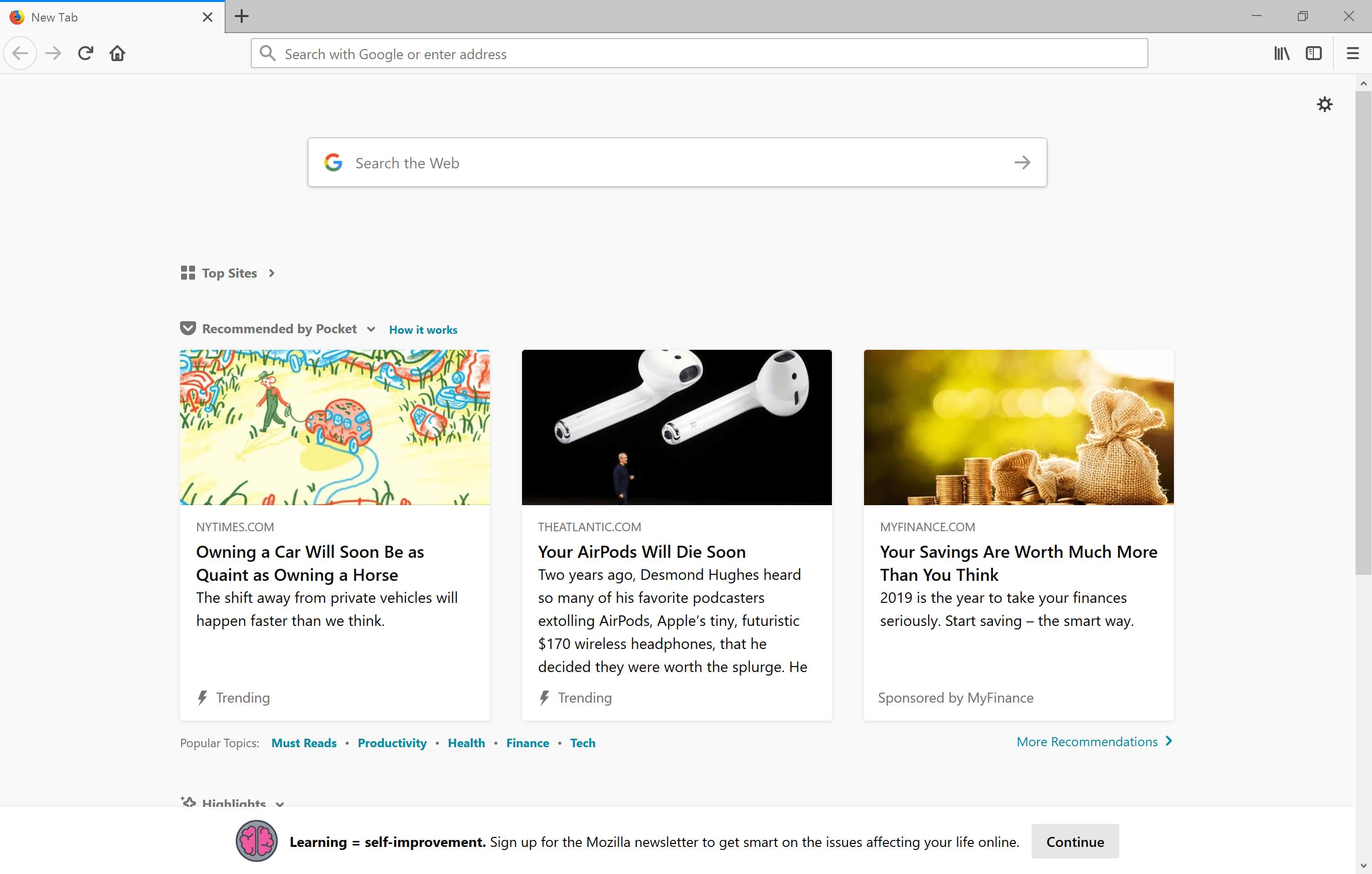 Firefox main window.