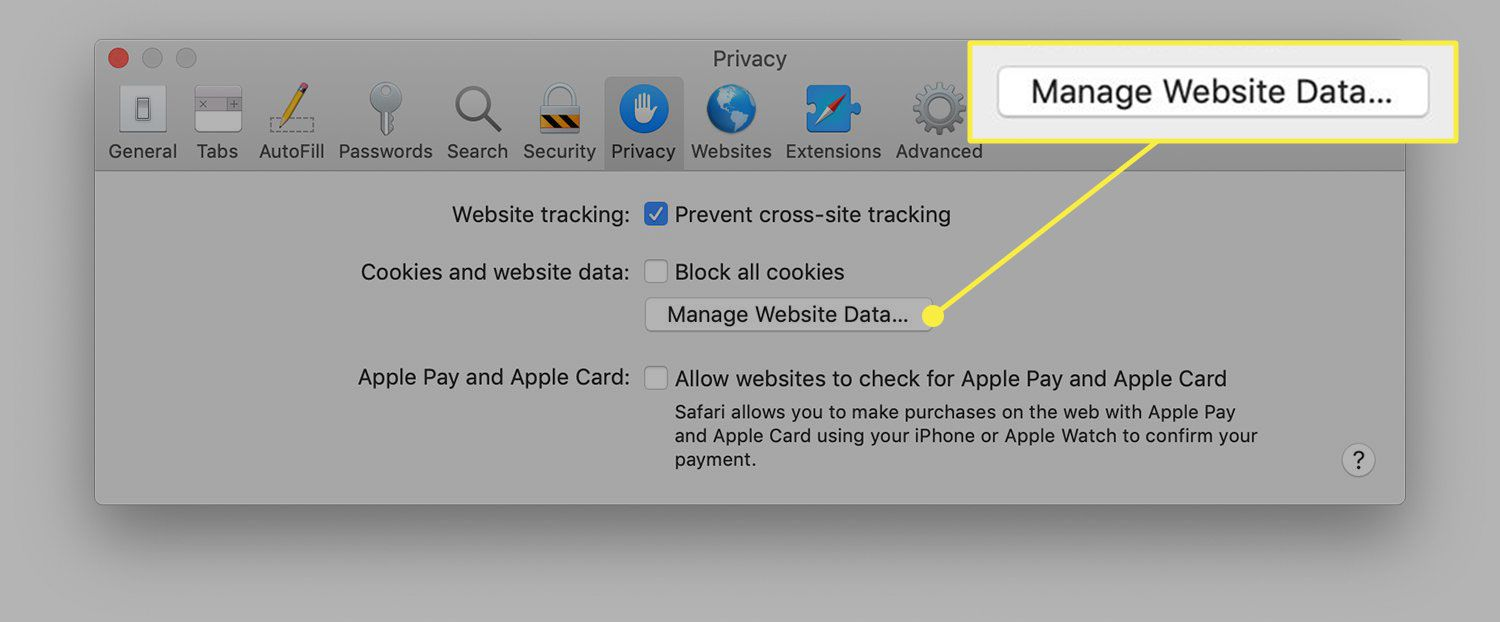 Safari's Privacy tab with the Manage Website Data button highlighted