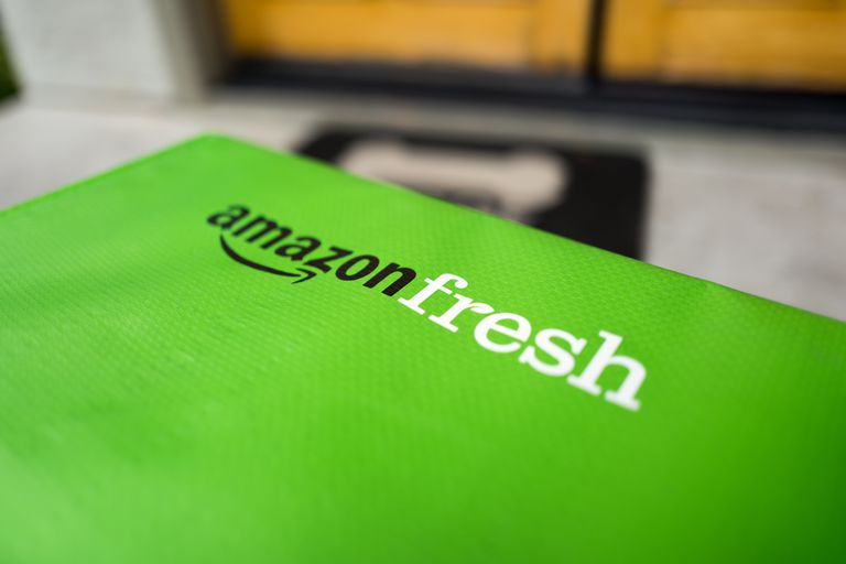Close up of a Amazon Fresh delivery box on a porch