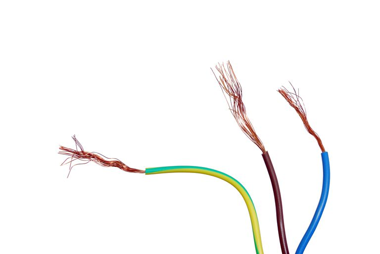 Three multi-colored, insulated speaker wires showing bare copper ends