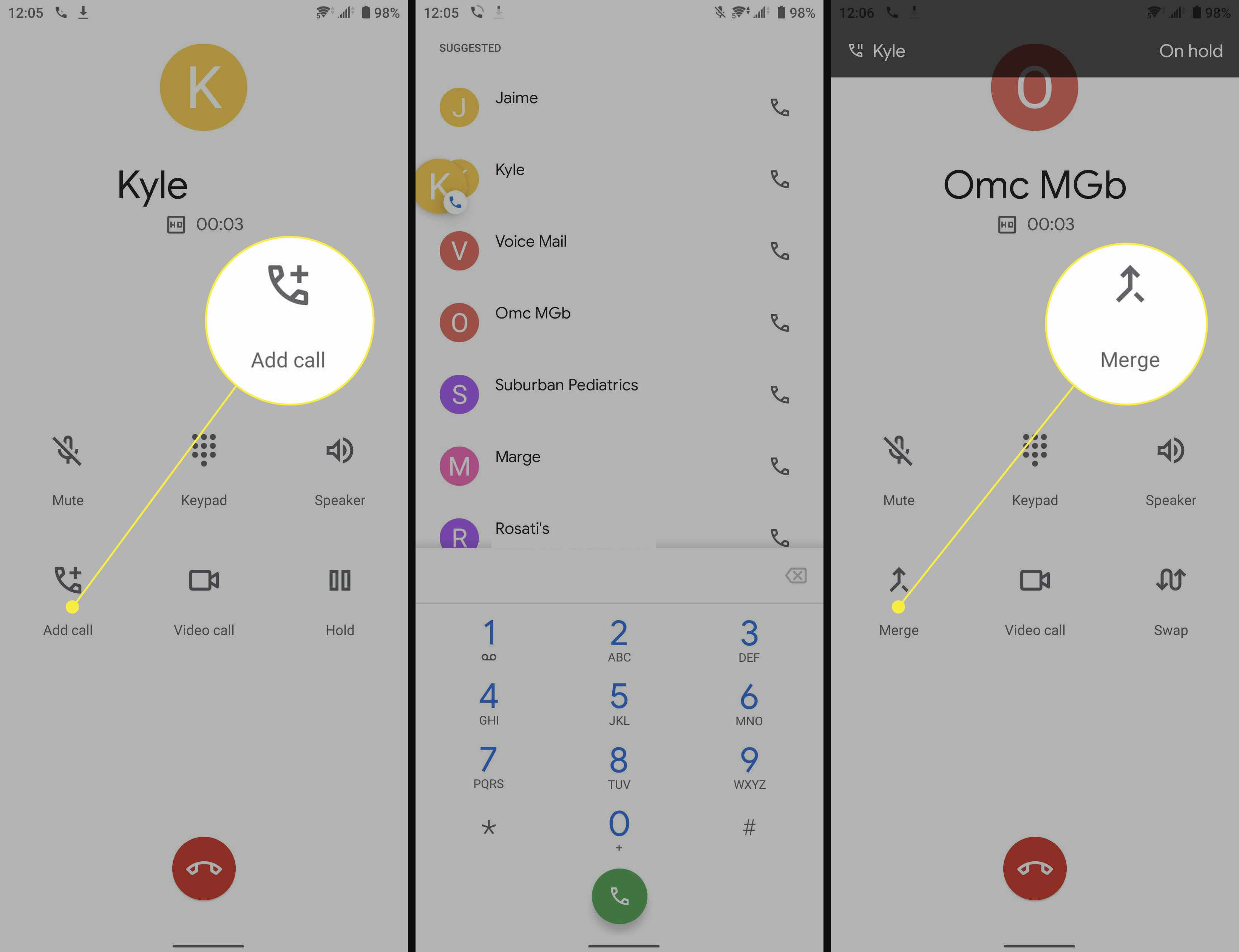 Steps to merge calls on Android.