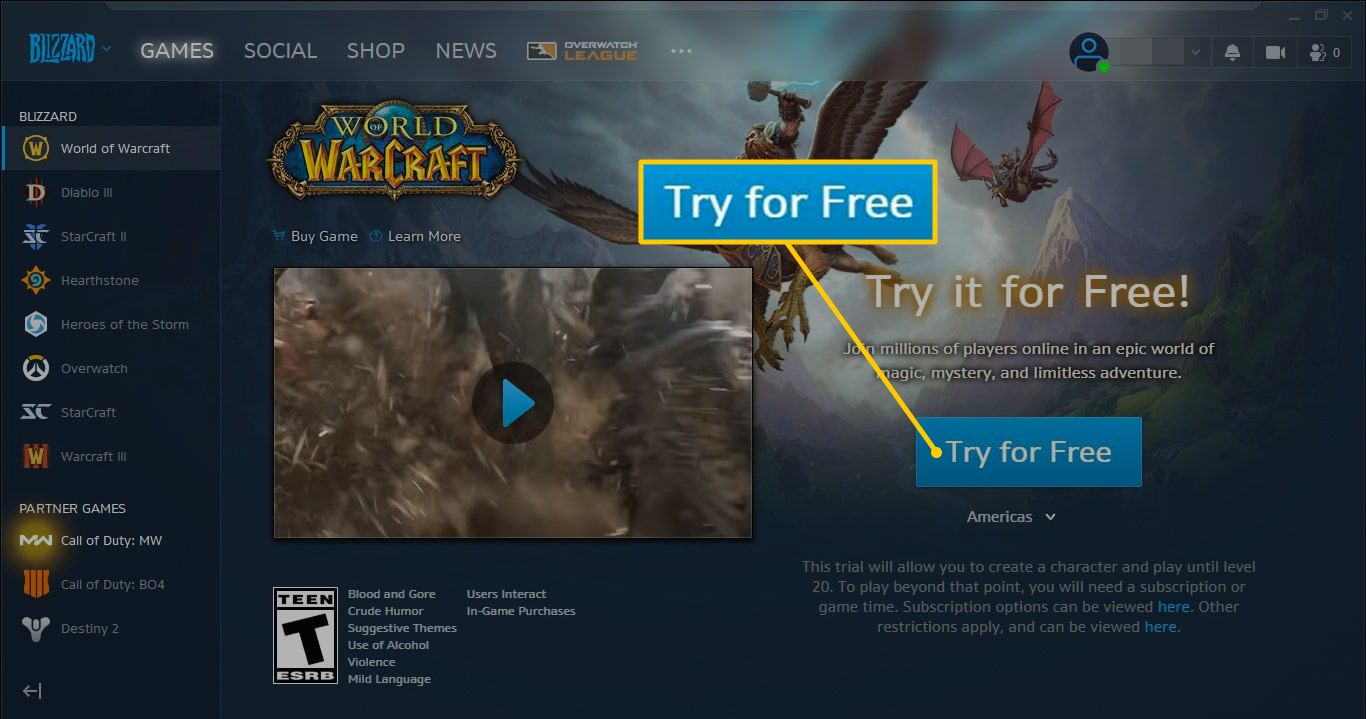 Try for Free button World of Warcraft Classic