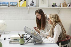 Graphic designer showing intern graphics on screen