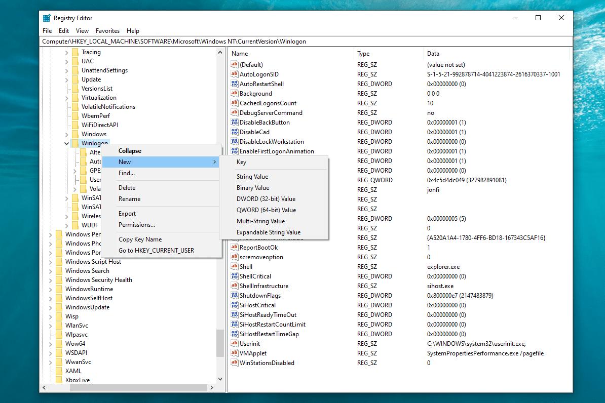 Registry Editor new menu in Windows 10